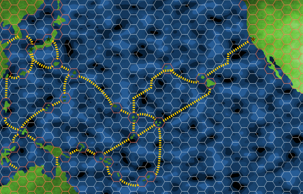 Board Map for the game. Some islands had to be moved for game balance.